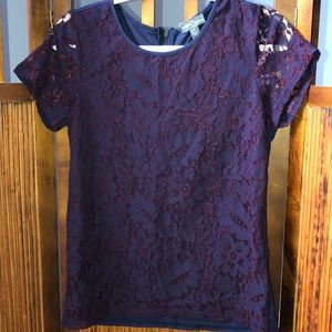 Navy lace detailed short sleeve top